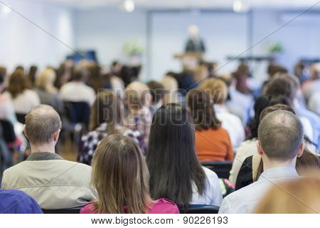 Bisiness Concept: Group Of People Listening On A Conference Hall
