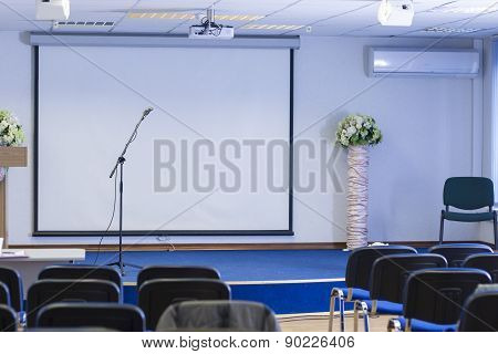 Microphone On Stand In Front Of The Empty Auditorium