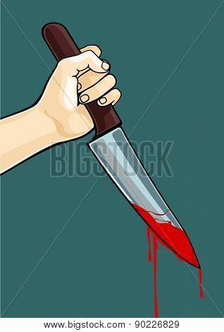 Hand with a blooded knife (raster version)