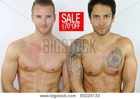 two sexy men on sale