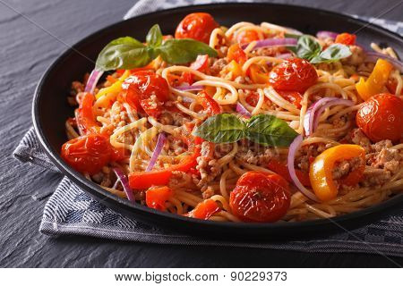 Italian Food: Pasta With Minced Meat And Vegetables