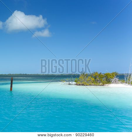 Caribbean sea and lonely island