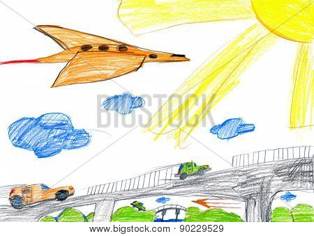 car on bridge and airplane. child drawing.