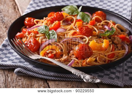 Pasta With Minced Meat And Vegetables Closeup Horizontal