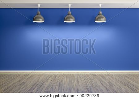 3d rendering of an empty blue room with three lamps