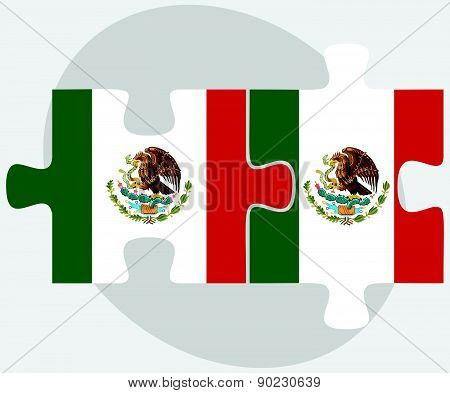 Mexico And Mexico Flags In Puzzle