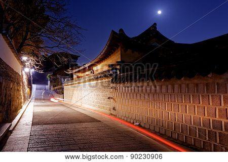 Bukchon Hanok historic district in Seoul at night, South Korea.
