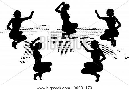 Woman Silhouette With Hand Gesture Triumph Sign