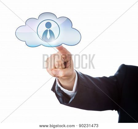 Finger Touching Office Worker Icon In The Cloud