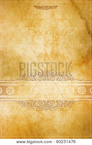 Old Paper Background With Decorative Patterns.