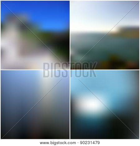 Blur landscape vector backgrounds. Editable blurred backgrounds set