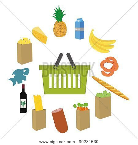 Flat design colored vector illustration of food and drink products , concept for retail