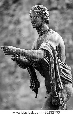 Black And White Apollo God Statue In Pompeii