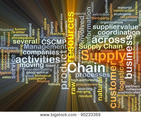 Background concept wordcloud illustration of supply chain glowing light
