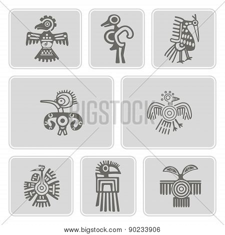 set of monochrome icons with American Indians relics dingbats characters (part 4)