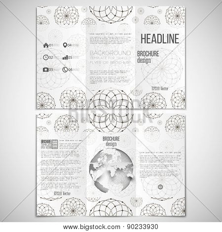 Vector set of tri-fold brochure design template on both sides with world globe element. Dotted moder
