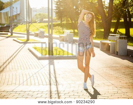 Summer Trendy Hipster Girl Posing Outdoors