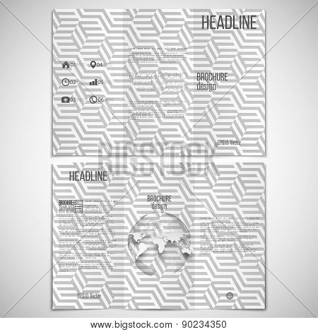 Vector set of tri-fold brochure design template on both sides with world globe element and repeating