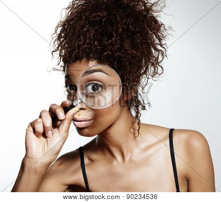 Curious Woman With Magnifer Lens