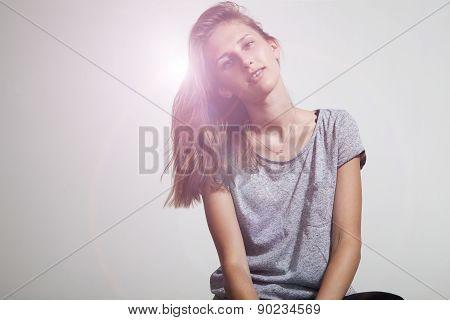 Prety Girl Wearing Grey Casual T-shirt, Smiling, Brackets.