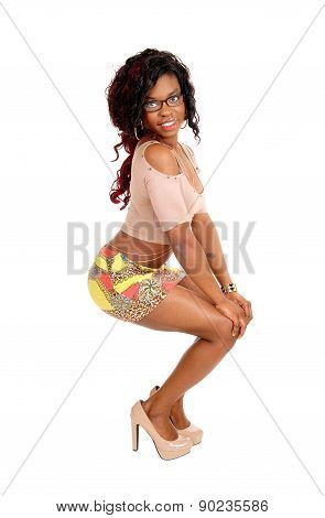 Young African Woman In Skirt.