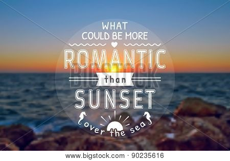 Vector Romantic Card With Sunset. Blurred Background.