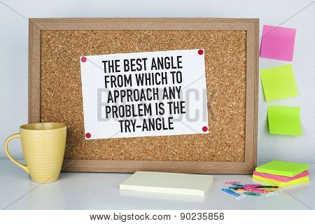 Motivational Quote Phrase Note on Bulletin Board
