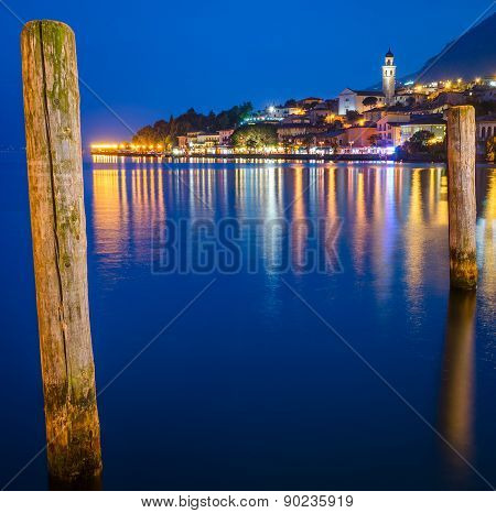 Lake Garda, Town Of Limone Sul Garda (lombardy, Italy) At Blue Hour