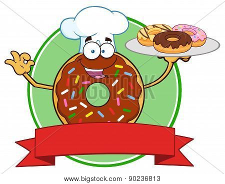 Chef Chocolate Donut Cartoon Character With Sprinkles Serving Donuts Circle Label