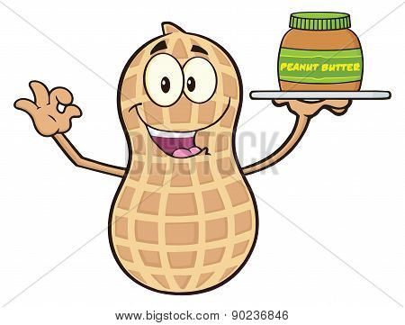 Peanut Cartoon Character Holding A Jar Of Peanut Butter