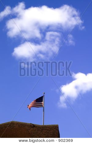 Us Flag And Sky