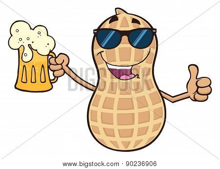 Smiling Peanut Cartoon Character With Sunglasses Giving A Thumb Up