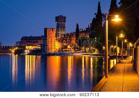 Lake Garda, Town Of Sirmione (lombardy, Italy) At Blue Hour