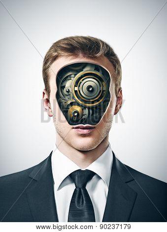 businessman with gears inside head