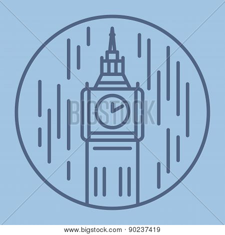 simple line drawn illustration of london big ban tower in rain icon