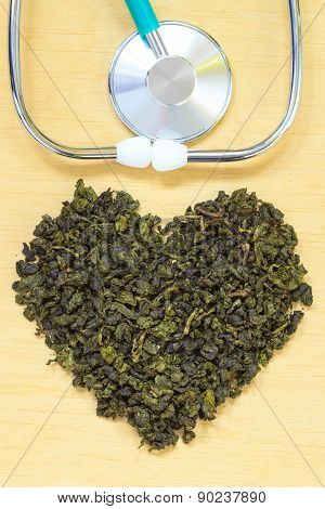 Green Tea Leaves Heart Shaped And Stethoscope