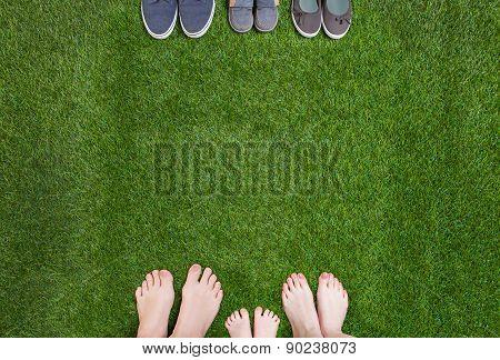 Family legs  standing  opposite shoes