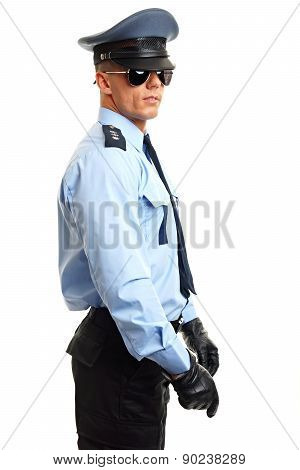 Policeman with hoding nightstick