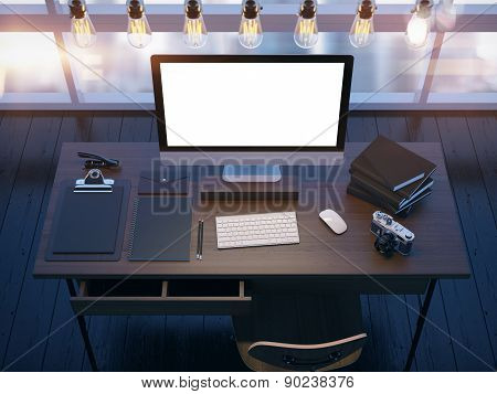 Mock up of modern workspace. 3D rendering