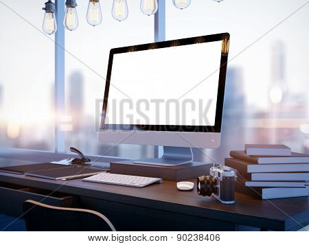 Mock up of generic design computer screen and blured city. 3D rendering