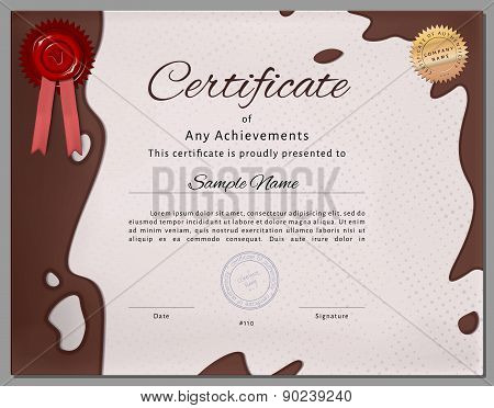Gift Certificate, Diploma, Coupon, Award Of Course Completion Template With Chocolate Milk Backgroun