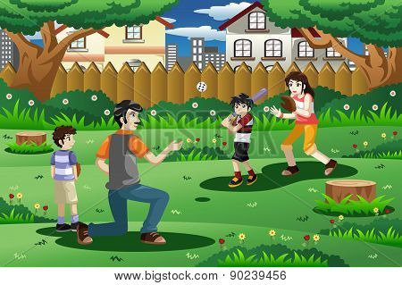 Family Playing Baseball Outdoor