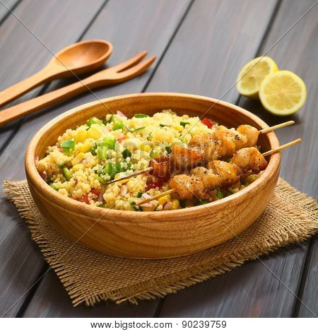 Couscous Salad with Chicken on Skewer