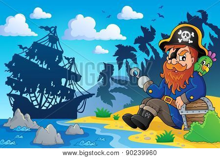 Sitting pirate theme image 2 - eps10 vector illustration.