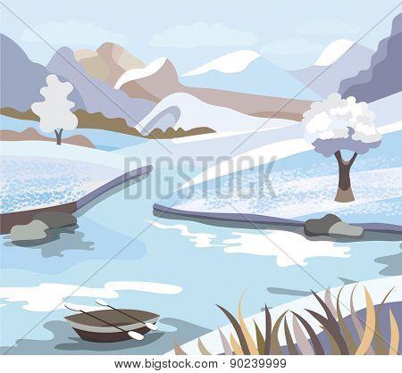 Beautiful  winter landscape (vector illustration)