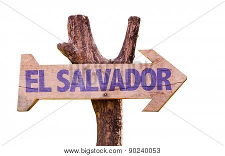 El Salvador wooden sign isolated on white background