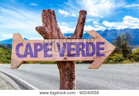 Cape Verde wooden sign with road background