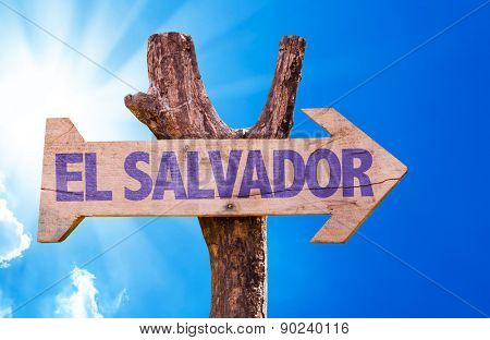 El Salvador wooden sign with sky background
