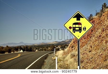 School Bus Stop Road Sign