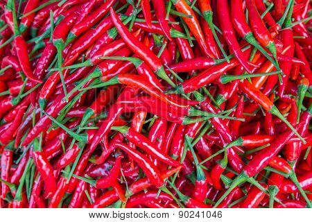 Red Chillies For Sale At Market,thailand
